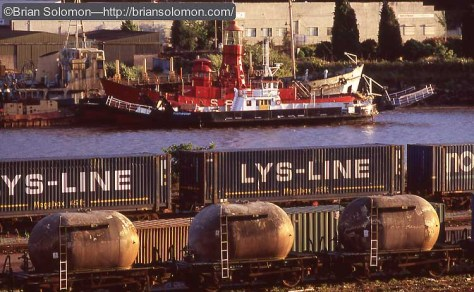 Rail freight along the River Suir at Waterford. Scan from a Fujichrome slide.