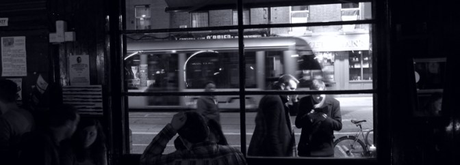 LUAS at Night, Benburb Street, Dublin; Two versions of one image.