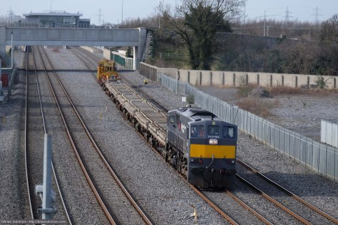 Irish Rail 084 with Relay train up road near Clondalkin. Exposed with Fuji X-T1.