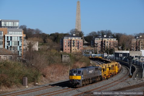 Irish Rail 084 with Relay train passes Islandbridge Junction on March 10, 2015. Fuji X-T1 photo.