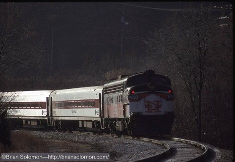 NH painted FL9 on Waterbury Branch Nov 16 1992 by Brian Solomon 232045