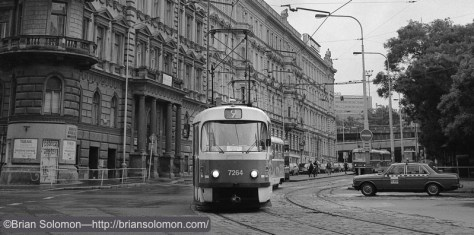 Tatra Tram on Cobbled Streets—cropped view.