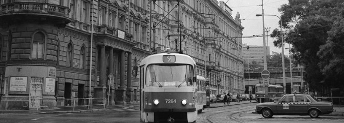 Prague: Tatra Tram on Cobbled Streets