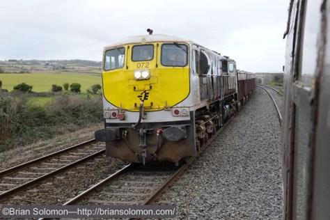The steady beat of an 071 class General Motors diesel leading a laden Tara Mines zinc train at Skerries.