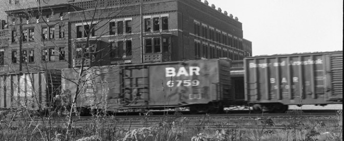 Classic 1980s: Bangor & Aroostook Boxcars Roll Through Springfield, Massachusetts.