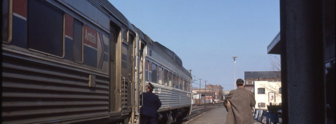 Amtrak RDCs at Meriden, Connecticut—February 1979.
