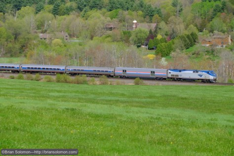 Amtrak train 449 seen east of Palmer, Massachusetts at 3:42pm on Saturday May 9, 2015. Exposed with my Fujifilm X-T1 Digital camera.