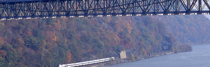 View of the Hudson River Valley with Bear Mountain Bridge using a Telephoto Lens.