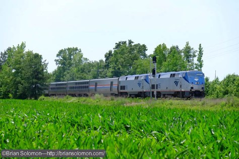 Amtrak train 92, the Silver Star north of Stony Creek, Virginia.