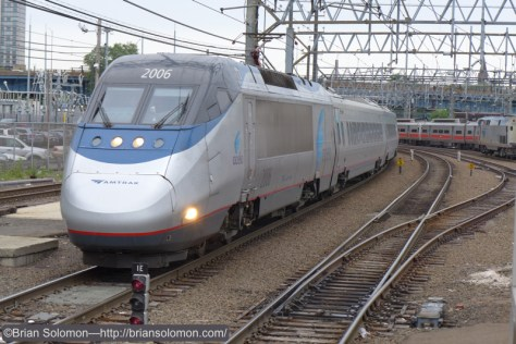 Amtrak Acela Express train 2235 with power car 2106 at New Haven. Lumix LX7 photo.