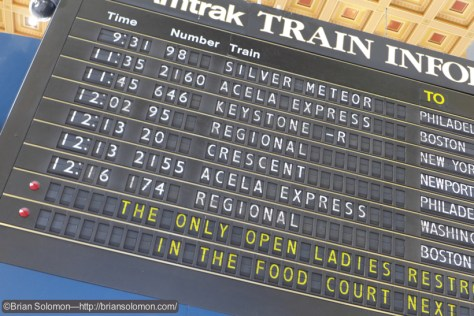 Solari board announcing train 95. We departed 8 minutes late.