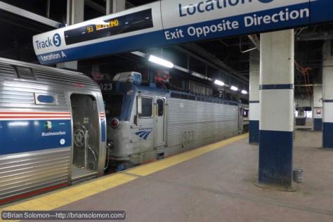 Amtrak train 93 pauses at Philadelphia 30th Street Station. LX7 photo June 2, 2015.