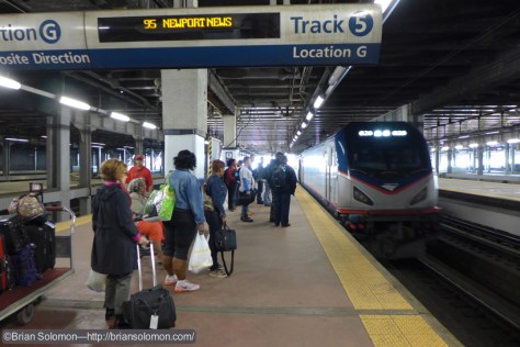 Amtrak 95 arriving on track 5 at Philadelphia 30th Street Station on June 4, 2015. Lumix LX7 photo.