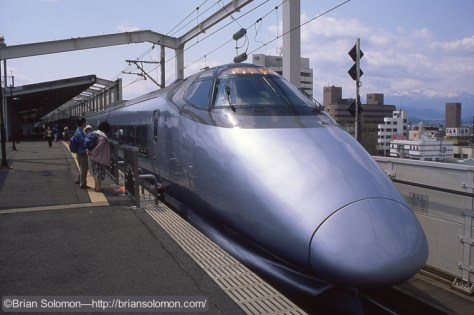 One of the 400-Series Shinkansen trains at Fukushima, Japan. Exposed on Fujichrome.
