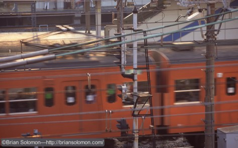 JR suburban train in Tokyo on April 18, 1997.