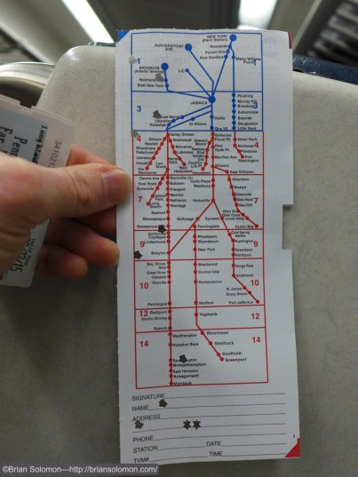 The back of a paper ticked shows a schematic map of the network. Jack May gave me this as a souvenir. LX7 Photo.
