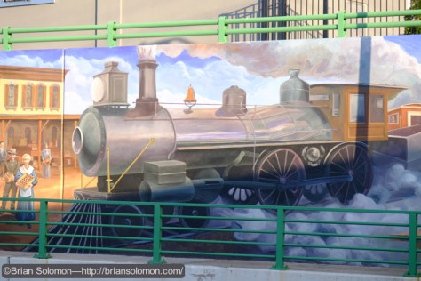 Mansfield, Massachusetts has a long history with the railroad. This mural features a classic 4-4-0. Exposed with a Fujifilm X-T1 digital camera.