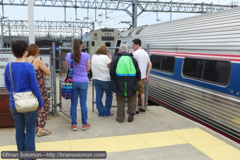 Vermonter passengers watch the New Haven engine change.