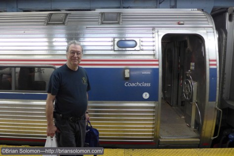 Richard Solomon with Vermonter at Penn-Station on June 27, 2015. Lumix LX7 photo.