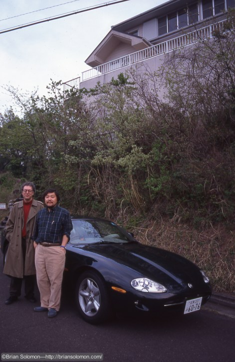 Richard J. Solomon with our friend Asao in the mountains southwest of Tokyo, April 1997.
