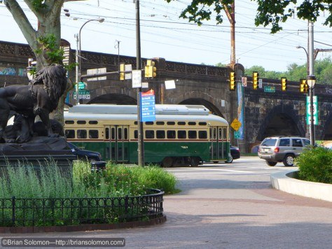 SEPTA PCC passes the Philadelphia Zoo. Exposed with a Lumix LX7.