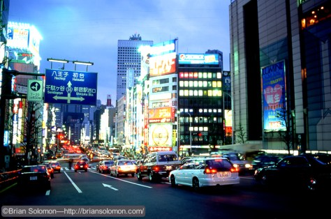 Shinjuku, Tokyo on April 19, 1997, exposed on Fujichrome using a Nikon N90S with 28mm lens fitted on a Bogen tripod.