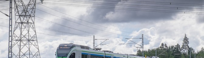 Experiment in Digital File Adjustment: Helsinki Airport Train with Clouds in Four Variations.