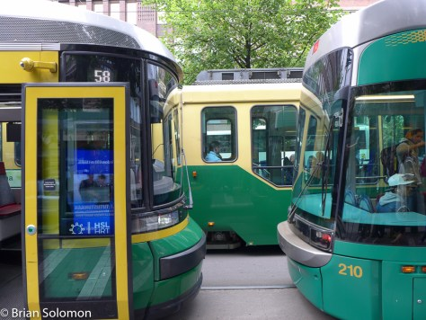 Three generations of trams in Helsinki. The Artic prototype is on the left.