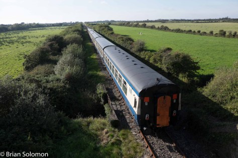 Irish Rail 087 near Robbinstown, County, Wexford on the South Wexford line. 28 September 2015.