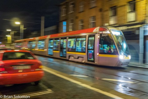 In the rain: LUAS 3001 on Benburb Street, Dublin. 17 September 2015. Lumix LX7 photo.