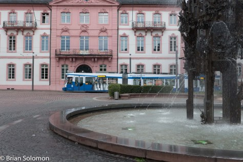 Tram with fountain. LX7 photo.