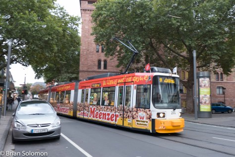 A slight pan sets the tram apart from the background. LX7 photo.