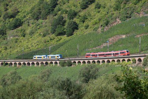 A branch railcar meets a DB regional local train on the Hanging Viaduct. FujiFilm X-T1 photo.
