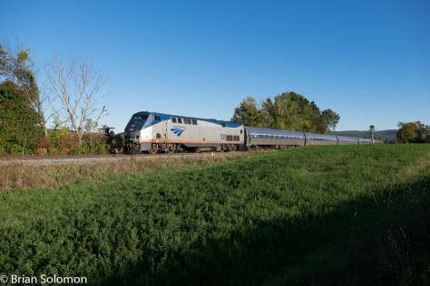 Amtrak's Vermonter at Vernon, Vermont on October 10, 2015. Exposed with a FujiFilm X-T1.