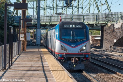 Amtrak ACS64 number 648 leads the northward Vermonter (train 56) at Trenton. This post was transmitted from this train.