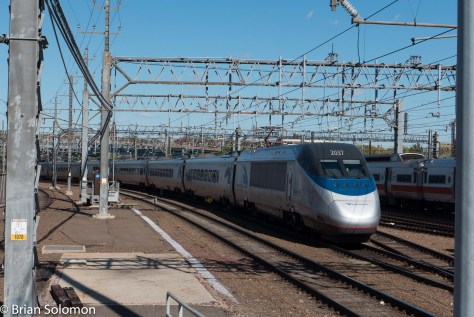 Boston-bound Acela Express departs New Haven. LX7 photo.