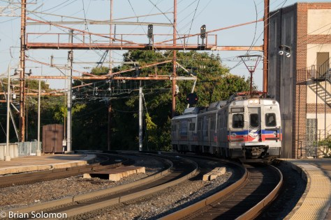A SEPTA local rolls in from Philadelphia. This is one of the ROTEM built Silverliner Vs.