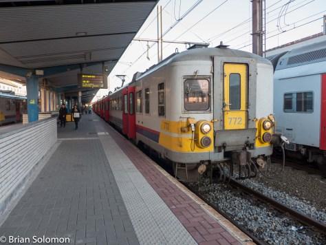 My train to Ottignie at the SNCB station at Charleroi Sud. Lumix LX7 photo.