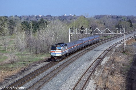 Amtrak F40PH 362 leads train 68 along the former New York Central mainline east of Newark, New York. (Incidentally, Newark, New York should not be confused with the larger and better known Newark, New Jersey, that is on Amtrak's Northeast Corridor).