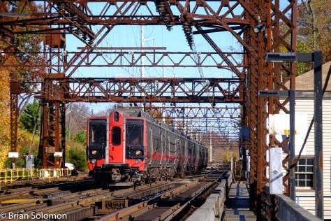 M8s crossing the Westport drawbridge.