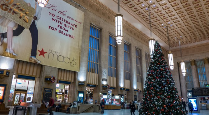 Amtrak's Philadelphia 30th Street Station: decorated for the Holiday Season.