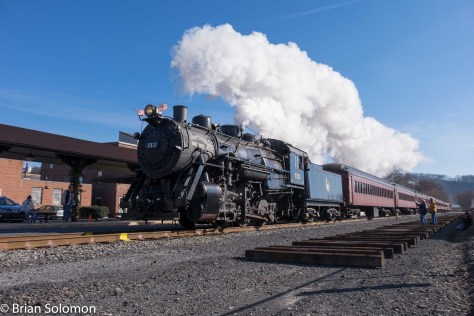 Central Railroad of New Jersey 0-6-0 113 charges through Schuylkill Haven, Pennsylvania on December 20, 2015.