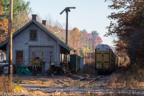 Providence & Worcester's southward freight symbol GRWO shakes the walls of the old station. Don't wait here for a 4-4-0 with combine coach on the 4:15 pm train to Winchendon. (It doesn't run any more).
