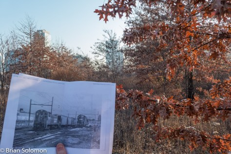 I made some cheap copies of the 1983 photos and started exploring Jersey City. While I'd expected to find the 1983 site covered with modern development, I was surprise that the location of our locomotive photo remained undeveloped, albeit surrounded by modern buildings.