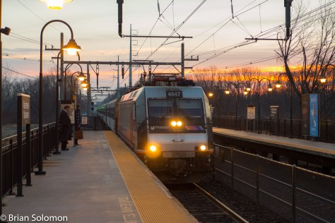 NJ Jersey Transit sunrise at Matawan, New Jersey in December 2015. Lumix LX7 photo.