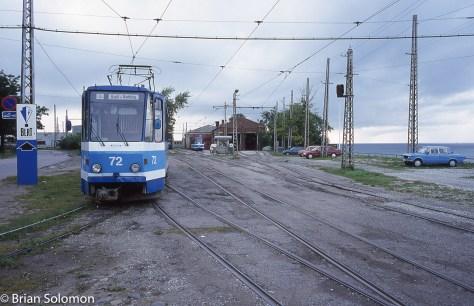 Trams by the Baltic sea at the Kopli terminus. Contax G2 rangefinder photo exposed on Sensia 100 slide film.