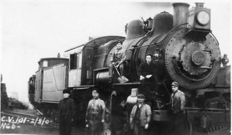 Here we have a wee bit of information. CV is for Cumberland Valley (not Central Vermont). The locomotive is a PRR Class H6b, engine number 190. A quick search of a PRR roster will reveal details about the engine. Also, we know it was exposed on February 2, Ground Hog Day, but the exact year is unknown. The men in the photo are obviously the crew, and knowledge of their uniforms will give you an ideas as to their positions and roles; Engineer, Conductor, Fireman, Brakeman flagman, etc. But who are they? Where are we? Why? Who was the photographer? What was the significance of this image at the time? Mysteries, so far as I'm concerned.