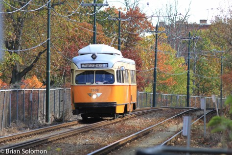 A Mattapan bound car approaches Central Avenue. Exposed with a Canon EOS7D with 200mm lens.