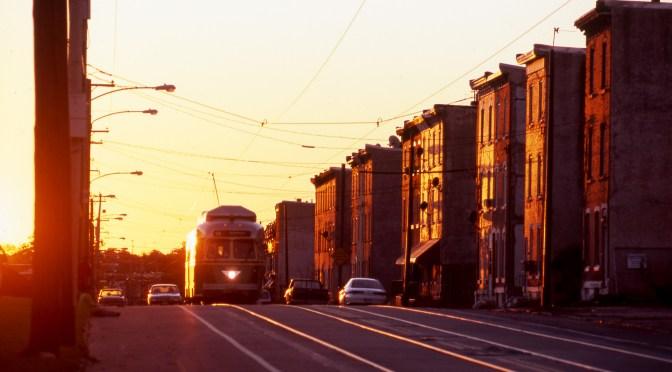 SEPTA Chrome Glint—Sunset in Philadelphia.