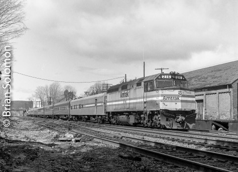 Amtrak 61 followed CV's southward road freight to Palmer arriving at 11 am. Here I pictured it near the old Boston & Albany freight house in Palmer, Massachusetts. Note the all heritage consist (except of course for the F40).